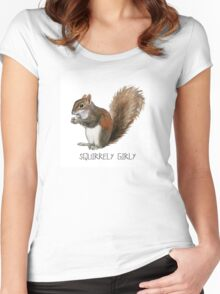 Squirrely Girly \\ Modern Creatures Women's Fitted Scoop T-Shirt