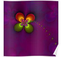 Flower fractal, purple Poster