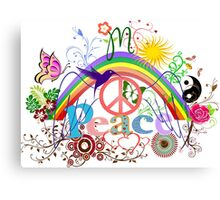 Peace - Colorful Mash-up Canvas Print