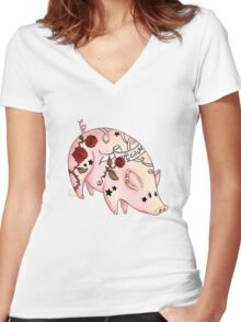 Tattoo Pig Women's Fitted V-Neck T-Shirt