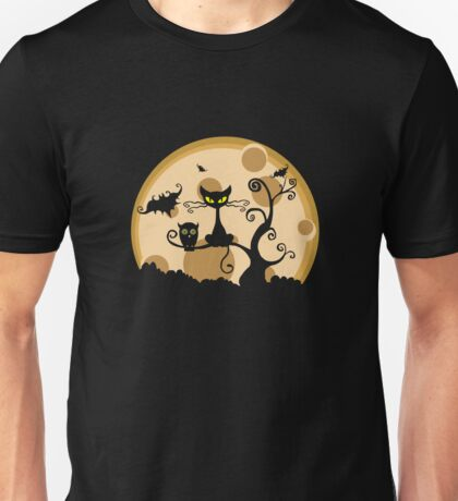 Cat And Owl On a Tree Unisex T-Shirt