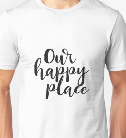 Kitchen Decor Printable Quote Our Happy Place Printable Kitchen Wall Art Love Quote Black and White Large Poster Unisex T-Shirt