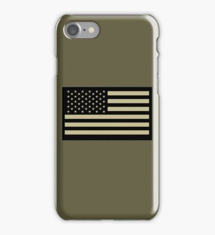 AMERICAN, ARMY, reverse side flag, Soldier, American Military, Arm Flag, US Military, IR, Infrared, USA, Flag, on BLACK iPhone Case/Skin
