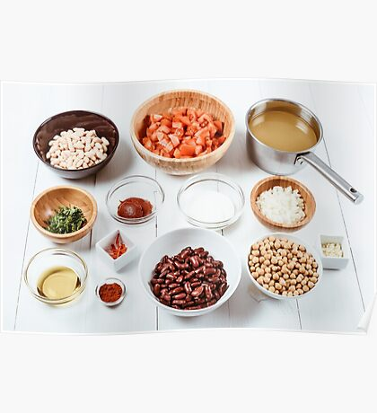 Fresh Food Ingredients On White Wood Kitchen Table Poster
