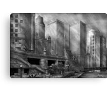 City - Chicago IL - Continuing a Legacy BW Canvas Print