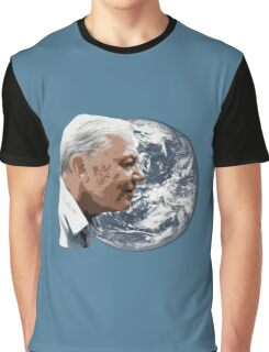 David Attenborough smiles over planet earth Graphic T-Shirt