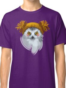Cute owl bird in a winter knitted hat. Classic T-Shirt