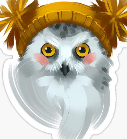 Cute owl bird in a winter knitted hat. Sticker