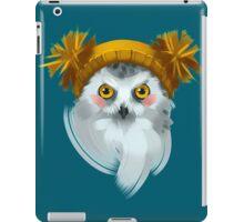 Cute owl bird in a winter knitted hat. iPad Case/Skin