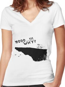 no why Women's Fitted V-Neck T-Shirt