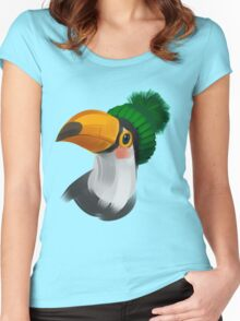 Cute toucan bird in a winter knitted hat Women's Fitted Scoop T-Shirt