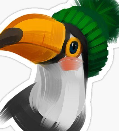 Cute toucan bird in a winter knitted hat Sticker