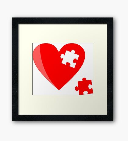 Puzzle heart 1 Framed Print