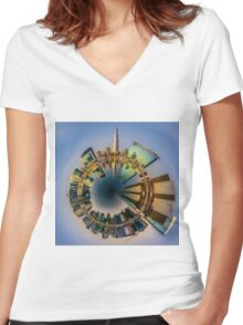 Planet Downtown Dubai Women's Fitted V-Neck T-Shirt