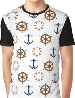 Seamless nautical design with naval elements. Trendy. Graphic T-Shirt