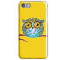 Funny blue owl with the yellow eyes iPhone Case/Skin