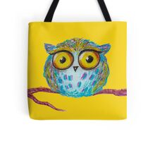 Funny blue owl with the yellow eyes Tote Bag