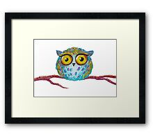 Funny blue owl with the yellow eyes Framed Print