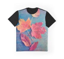 Autumn Leaves on Blue Vintage Table 2 Graphic T-Shirt