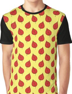 Red Leaf Yellow Pattern Graphic T-Shirt