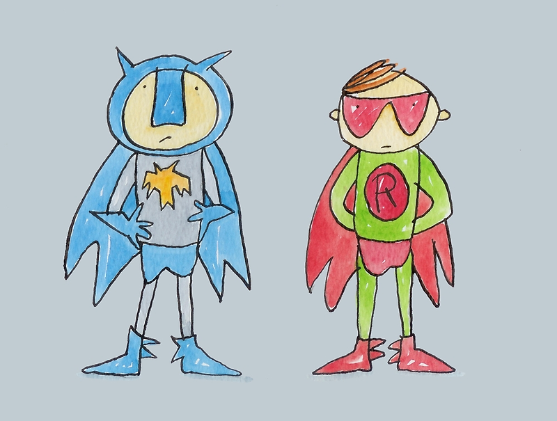 Batman and Robin Superheroes by AndyLanhamArt