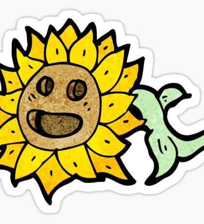 retro sunflower cartoon Sticker