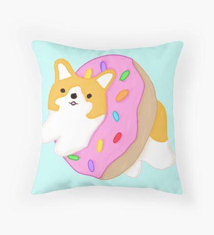 Corgi Donut Throw Pillow