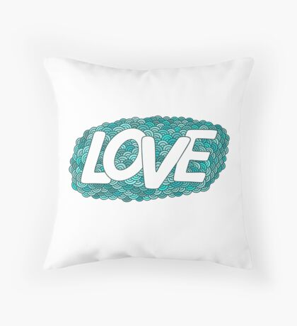 Love.Blue hand drawn doodle  Throw Pillow