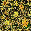 Orange & Yellow Flowers on Black Background by Gravityx9