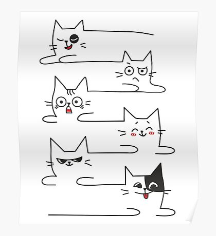 Funny Cats Unlimited Lines Poster