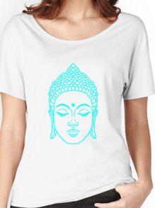 Buddha head in cyan Women's Relaxed Fit T-Shirt