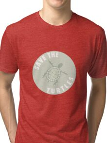 save the turtles badge  Tri-blend T-Shirt