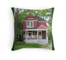 Red and White House Throw Pillow