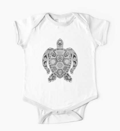Royal Sea Turtle - silver, black and white One Piece - Short Sleeve