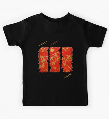 RED GOLD SONG MUSICAL NOTES PEACE LOVE MUSIC FUNNY QUOTE Kids Tee