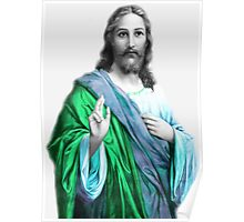 Jesus in Blue and Green Poster