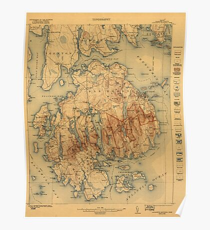 Vintage Map of Maine Poster