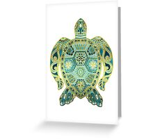 Royal Sea Turtle - turquoise and gold Greeting Card