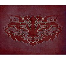 Tribal Wolf Red Photographic Print
