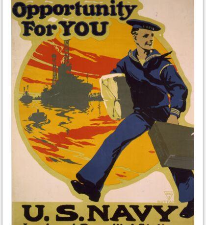US Navy Recruiting Poster - 1917 Sticker
