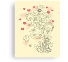 zen cup of tea with love Canvas Print