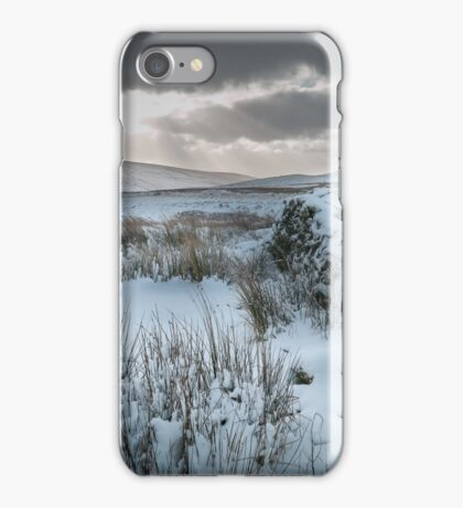 Snow covered stone wall, Brecon Beacons. iPhone Case/Skin