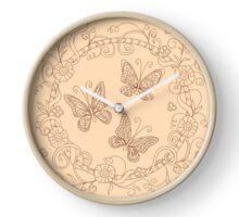 zen butterfly into floral mandala Clock