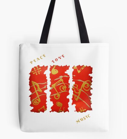 RED GOLD SONG MUSICAL NOTES PEACE LOVE MUSIC FUNNY QUOTE Tote Bag