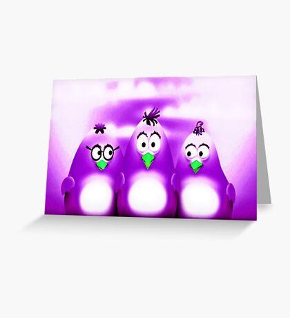 Penguin Triplet In Solid Purple Greeting Card