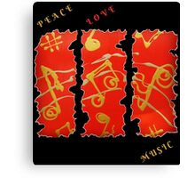 RED GOLD SONG MUSICAL NOTES PEACE LOVE MUSIC FUNNY QUOTE Canvas Print
