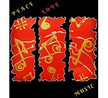 RED GOLD SONG MUSICAL NOTES PEACE LOVE MUSIC FUNNY QUOTE Photographic Print