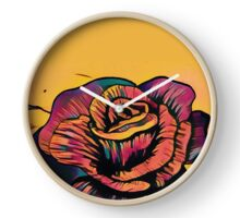 colourful painting style rose design Clock