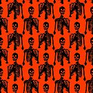 Black Skeleton Orange Pattern by SaradaBoru
