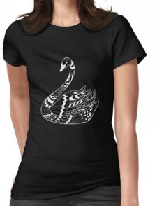 zen swan on black Womens Fitted T-Shirt